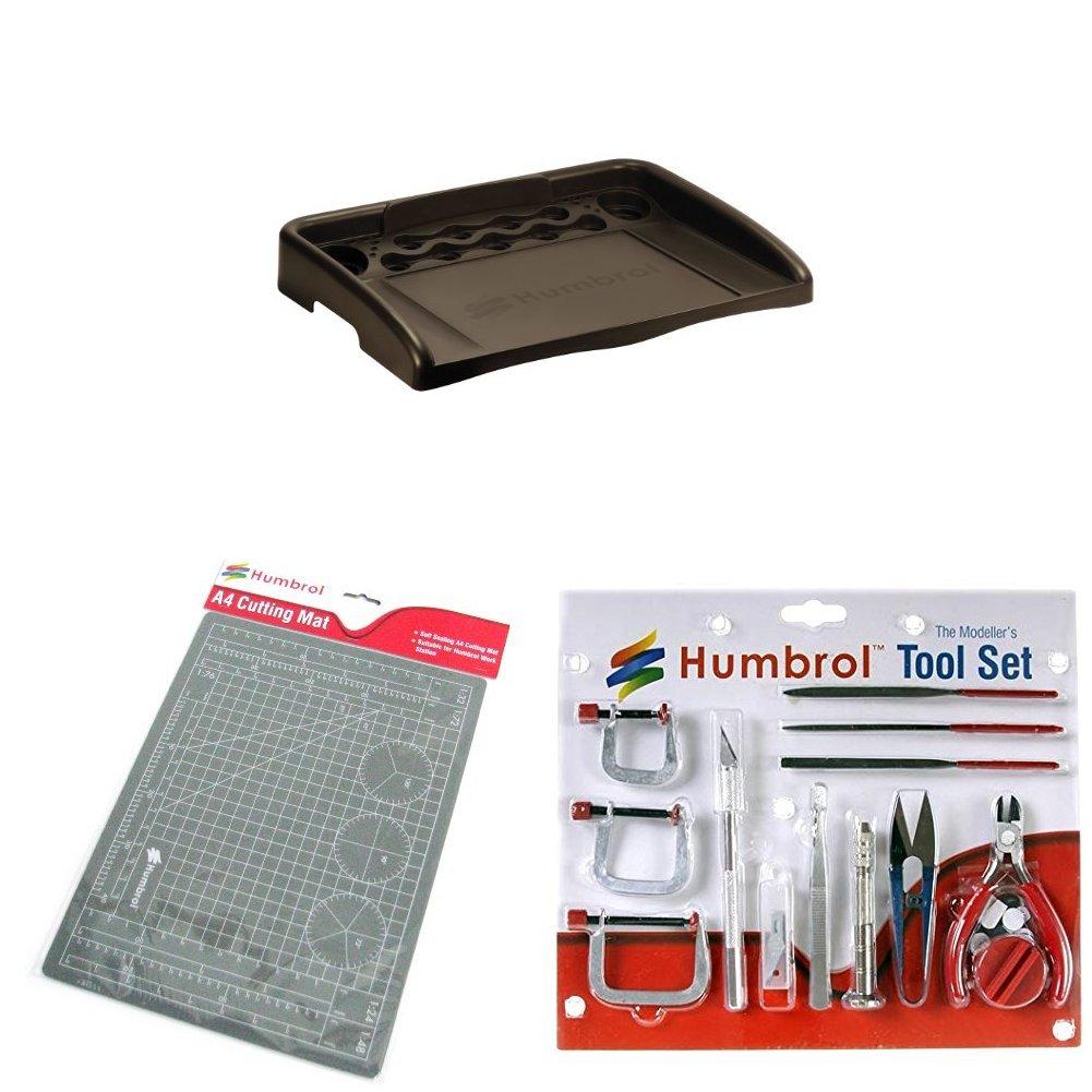 Humbrol Work Station, A4 Cutting Mat and Medium Tool Set Bundle