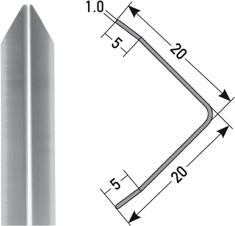 Autoadhesivo acerto 37413 Perfil de protecci/ón angular de acero inoxidable 100cm Perfil angular barra angular como protecci/ón Made in Germany Triple canto con punta 40 x 40 mm