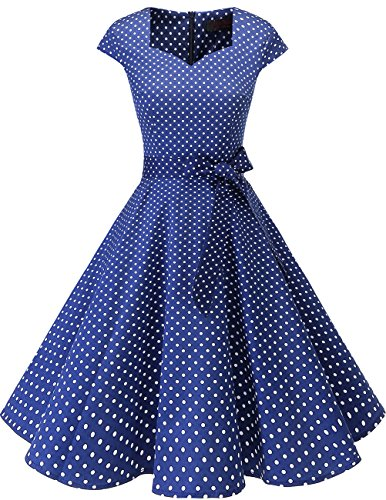 DRESSTELLS Retro 1950s Cocktail Dresses Vintage Swing Dress with Cap-Sleeves Navy Small White Dot -