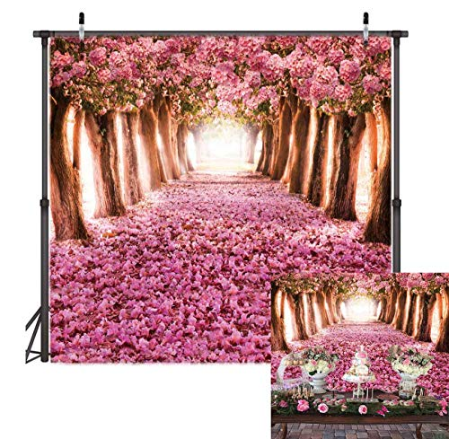 Enchanted Forest Baby Shower - TJ Pink Flower Trees Backdrop Romantic Flower Enchanted Forest Photography Background Wedding Bridal Shower Banner Decoration Baby Shower Birthday Party Supplies Photo Studio Booth Props 6X6FT Vinyl