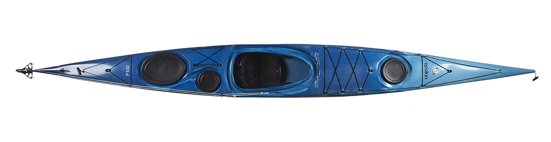 Boreal Design Epsilon P100 PE Rudder Sea Kayak, White/Blue