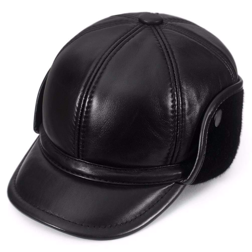 ERLINGSAN-PM Herren-Ohrenschützer-Baseballmütze für Herren aus Leder für den Herbst und Winter