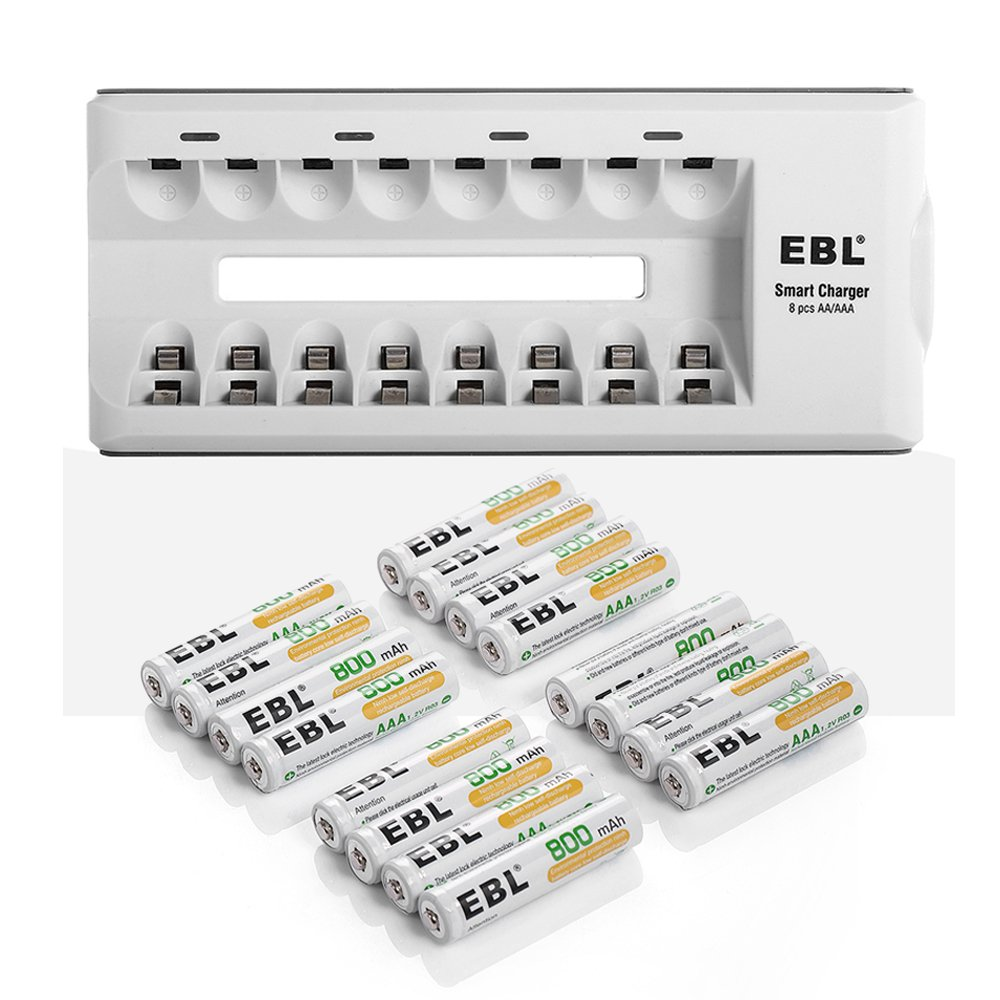 EBL 16 Pack 800mAh Super Capacity AAA Rechargeable Batteries with Storage Cases + 8 Bay Smart Charger