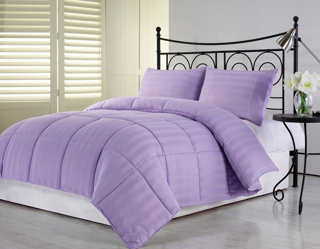 Chezmoi Collection 3-Piece Hotel Dobby Stripe Down Alternative Comforter Set