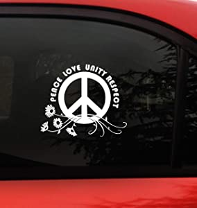 Plur Decal - Peace-Love-Unity-Respect -Daisy Flower- I Love Rave- EDM- Bumper Sticker Decal.