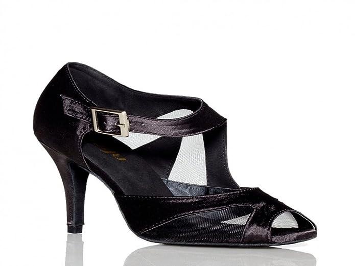 Aaron Womens Mid Heel Leather Salsa Tango Latin Monk Strap Dance Sandals