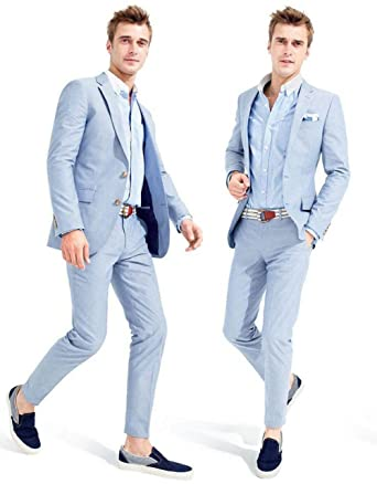 SIPEI Groom Tuxedos Light Sky Blue Groomsmen Men Wedding Suit(Jacket ...