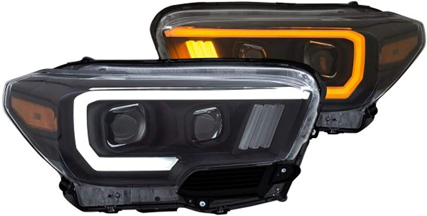 ANZO USA 111397 Projector Headlight Set w//Plank Style Switchback Black