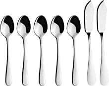 7 Pieces Demitasse Espresso Spoons & Butter Knives, AOOSY Stainless Steel Dessert Ice Cream Sugar Coffee Stirring Spoons Cheese Spreaders for Home Cafe Restaurant