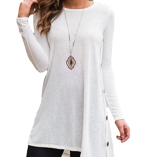 600fc99767b Comfy Women's Big Hem Stylish Comfy Buttoned Solid Tunic T-shirts White L