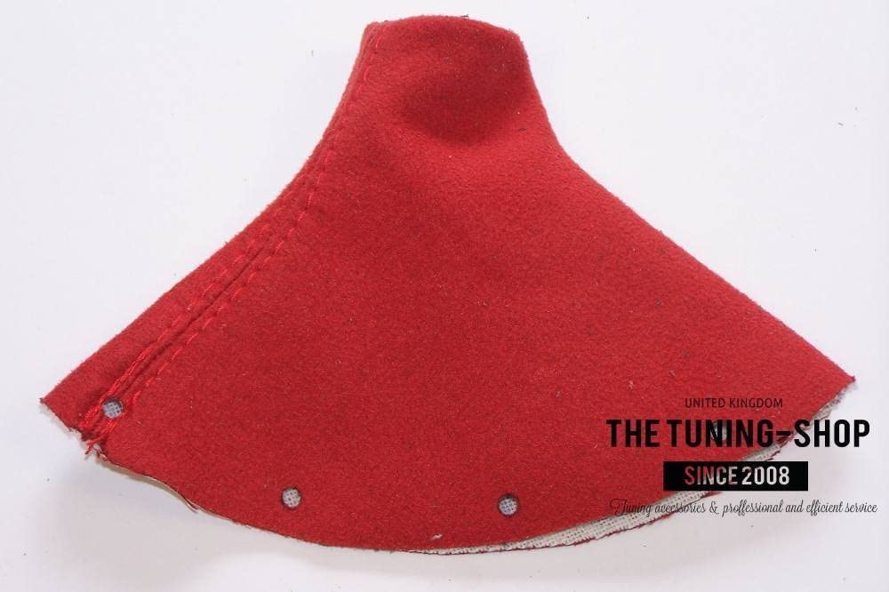 THE TUNING-SHOP GEAR GAITER CUSTOM MADE SHIFT BOOT BLACK GENUINE ITALIAN LEATHER with RED STITCHING New