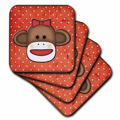3dRose CST_102831_2 Cute Sock Monkey Girl-Soft Coasters, Set of -