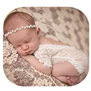 Fashion Cute Newborn Baby Girls Photography Props Lace Romper Photo Shoot Props Outfits (White)