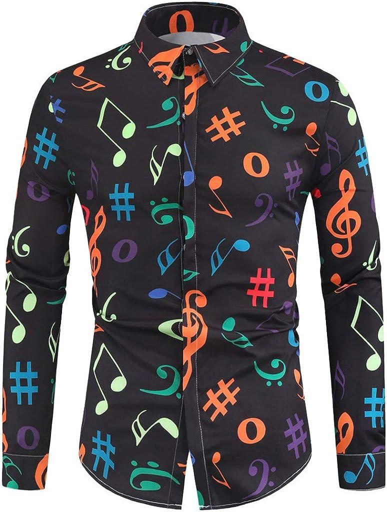 Carnevale Uomo Abbigliamento T-Shirt Uomo,M//XXXXL BELLA HXR Camicia Uomo Slim Fit Maglia A Maniche Lunghe,con Stampa di Note Musicali,LIM,Originale Camicie Elegante con Bottoni
