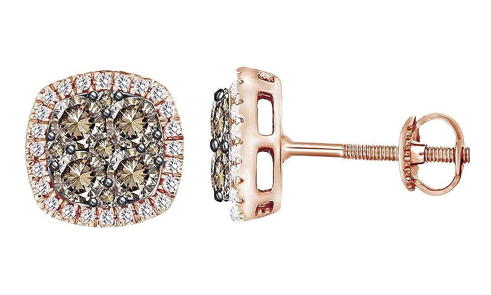 14 Karat RotGold 1 Karat Rundschliff-Diamant-Weiß, Damen-Ohrstecker 14 Karat 585 WeißGold