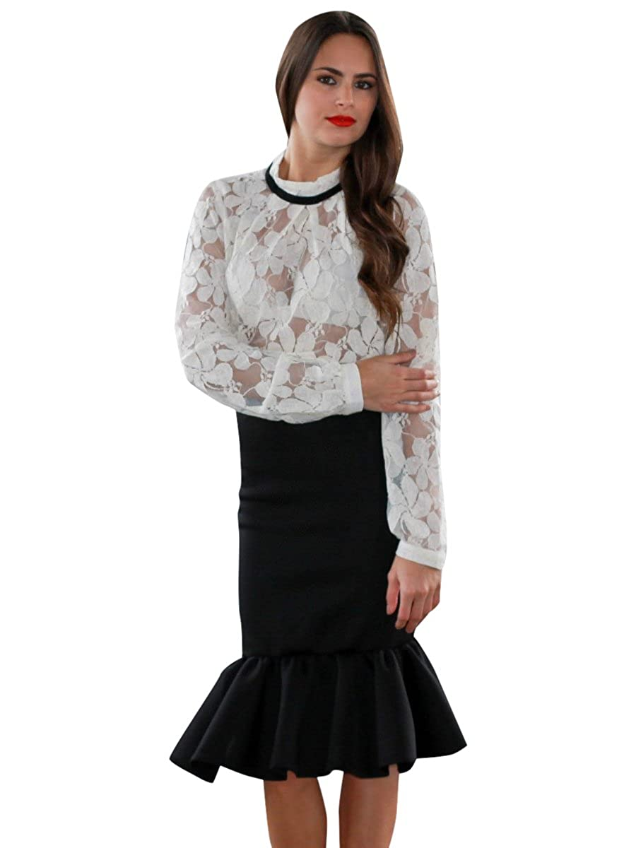 aed873a52a Social Butterfly House Women's Paloma Midi Trumpet Skirt at Amazon Women's  Clothing store: