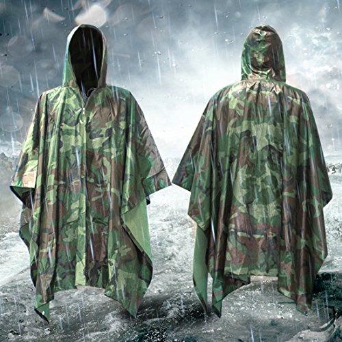 Wasserdichter Regenponcho mit Kapuze,Regenjacken, MTURE Regenmäntel Unisex Regenmantel Ponchos Regenbekleidung für Bergsteigen Reisen - grün