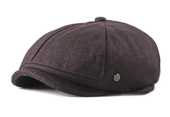 7883aa82 Newsboy Style Flat Cap Mens Gatsby Hat Baker Boy Tweed Cap Peaky Hat  (Brown): Amazon.co.uk: Clothing