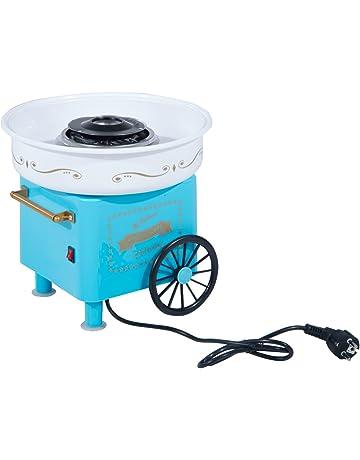 HOMCOM Máquina de Algodón de Azúcar Eléctrica Profesional Estilo Retro Regalo Infantil para Fiestas Cumpleaños Acero