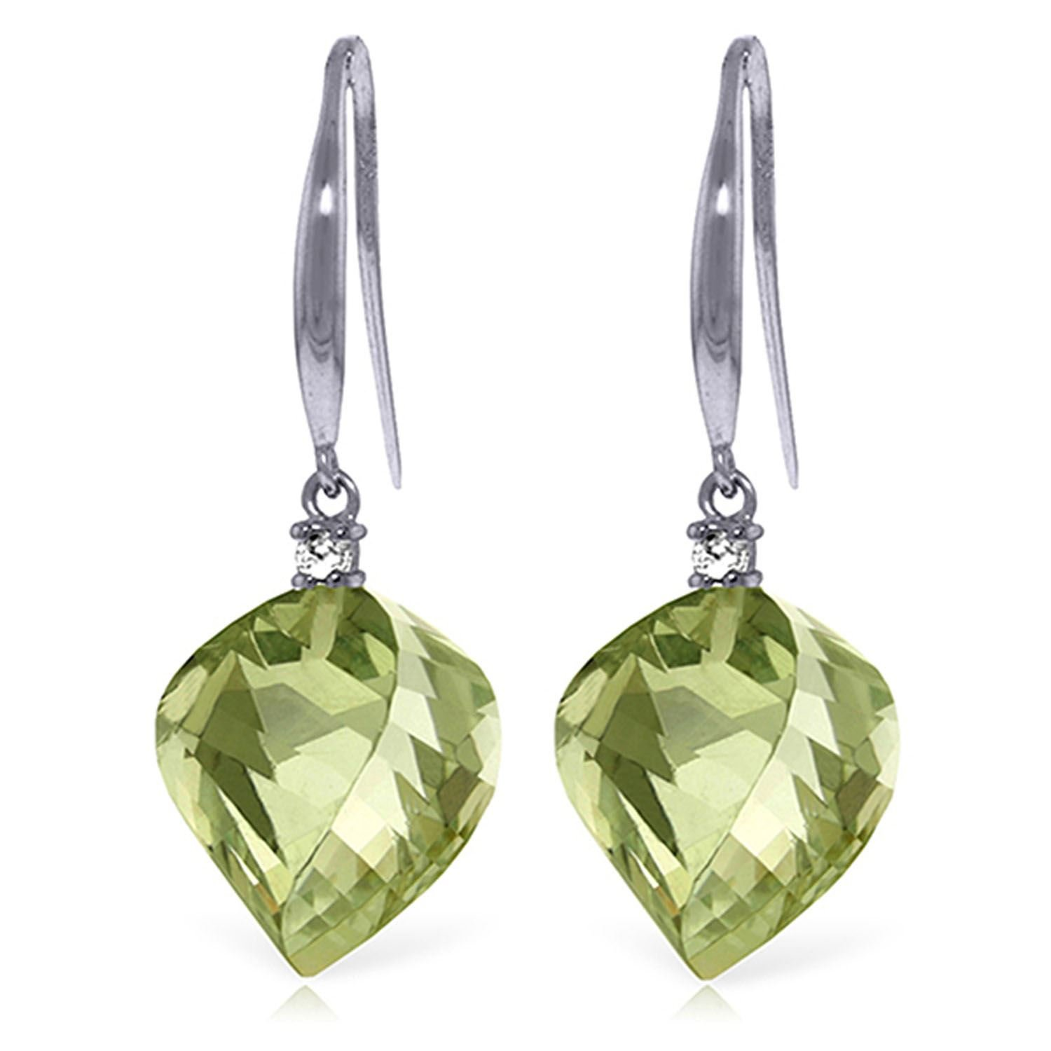 ALARRI 26.1 CTW 14K Solid White Gold Found My Love Green Amethyst Diamond Earrings by ALARRI (Image #1)