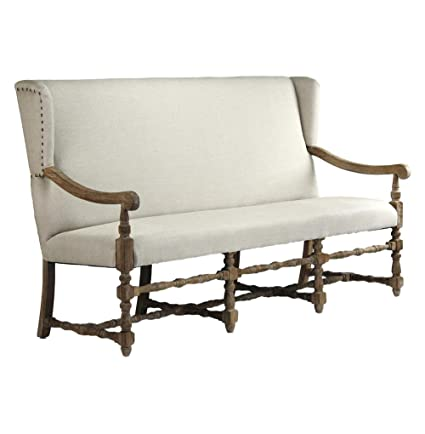 Beau Augusto French Country Linen Oak Dining Bench Sofa