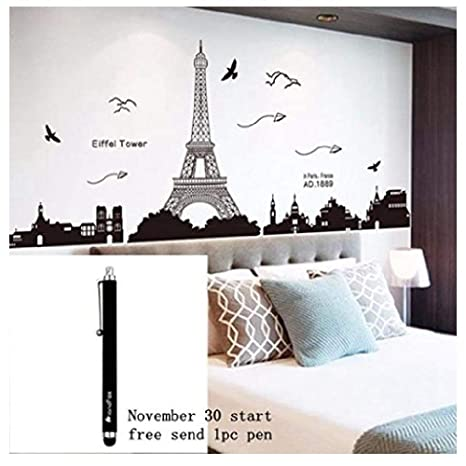 . Ussore Eiffel Tower Removable Decor Environmentally Mural Wall Stickers  Decal Wallpaper For Kids Home living room bedroom bathroom kitchen Office