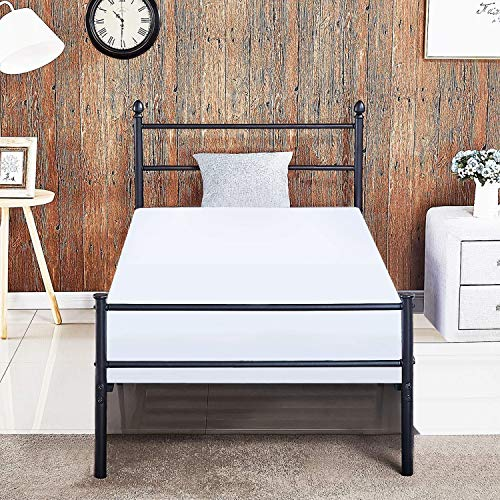 Set Footboard Metal - VECELO Reinforced Metal Bed Frame Platform Mattress Foundation/Box Spring Replacement with Headboard & Footboard Twin Black