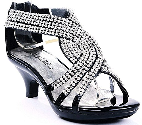 Angel-37K Little Girl Mid Heel Rhinestone Pretty Sandal Dress Shoes (2 M US Little Kid, Black) (Angel Pretty Fashion)