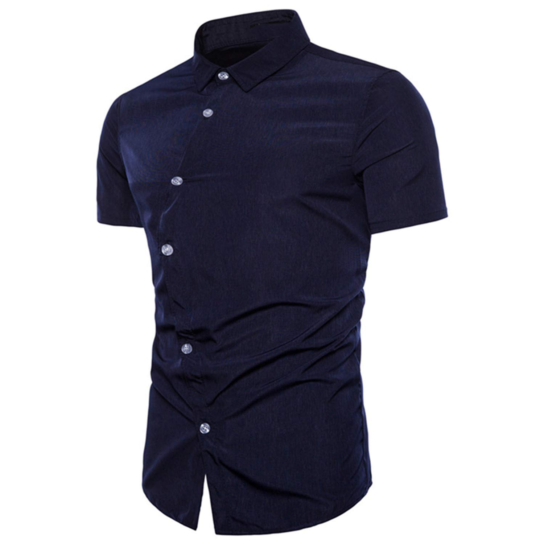 Eslove Mens Casual Short-Sleeved Shirt Size M-2XL Navy XL