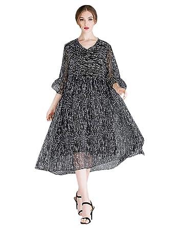 07f31c68479e2 KELUOSI Robe Mousseline Femme Robe de Soirée Grande Taille Décontracté Col  V Robe Cocktail: Amazon.fr: Vêtements et accessoires