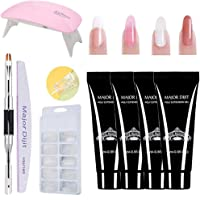Poly gel nails kit,Anself 15ml Nail Poly Gel de Construcción Rápida Gel UV Espátula Extensión del cepillo Puntas falsas Set