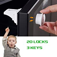 Door Toilet Seat Oven Window Bekith 21 Pack Child Safety Locks Cabinet Baby Proofing for Drawer No Tool Need with Super Strong Adhesive and Adjustable Strap