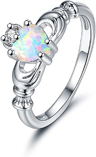 18k Yellow Gold Irish Fire Opal Heart Claddagh Celtic Silver Ring Size 3-12