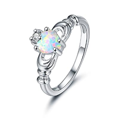 9242c21696325 OPALBEST Heart Fire Opal Promise Ring Friendship Cubic Zirconia Band White  Gold Plated for Women Girls