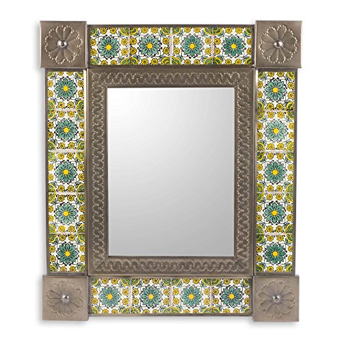NOVICA Floral Tin and Ceramic Wall Mounted Mirror, Green