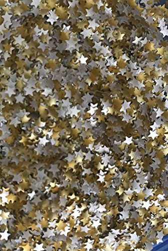 EDIBLE GLITTER MIX SILVER AND GOLD STARS (0.04 Ounce container) , Used for cakes, cupcakes,flakes, cookies By OH! SWEET ART
