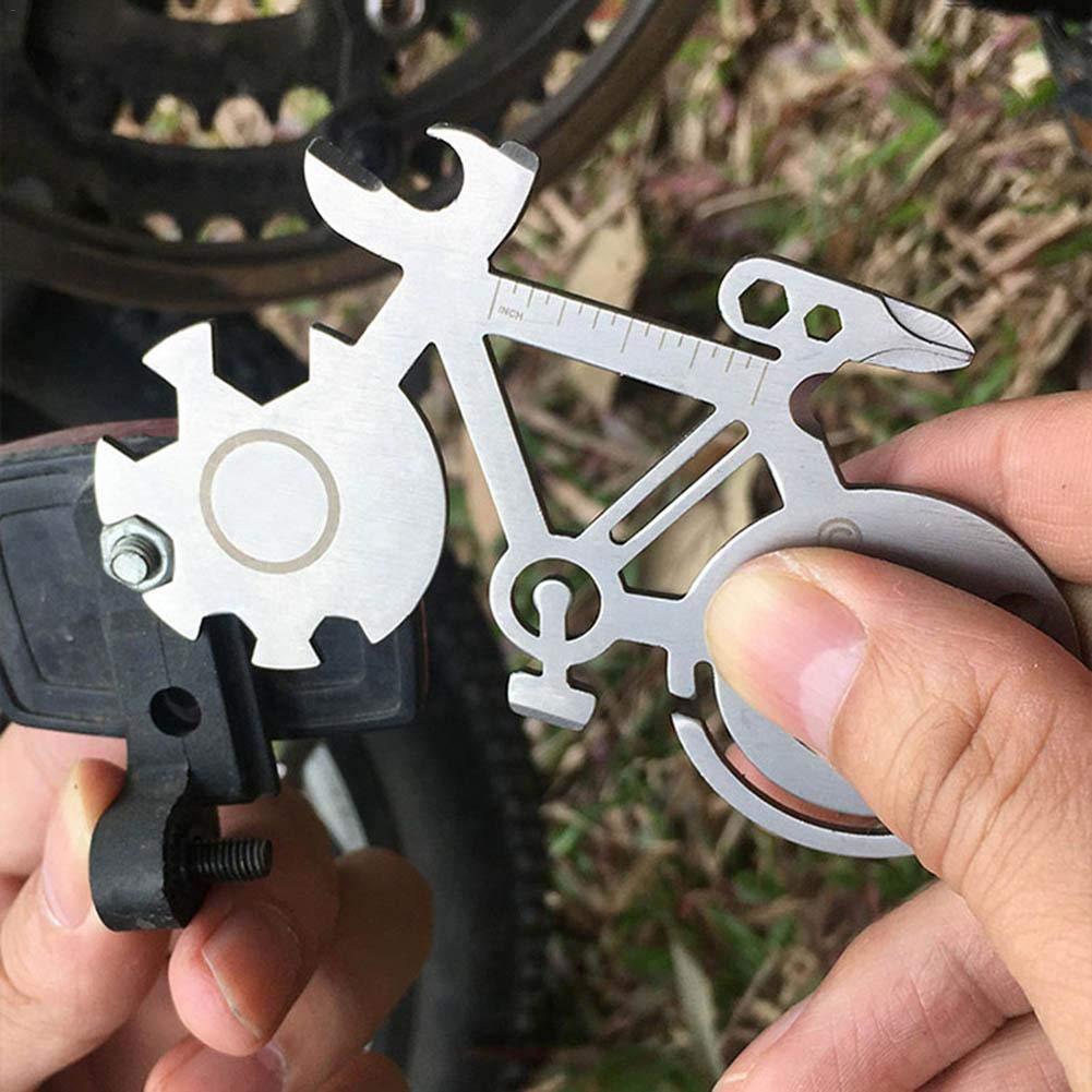 Llave de acero inoxidable al aire libre compacto de múltiples funciones de bicicleta llave de reparación portátil portátil y durable tarjeta de herramienta ...