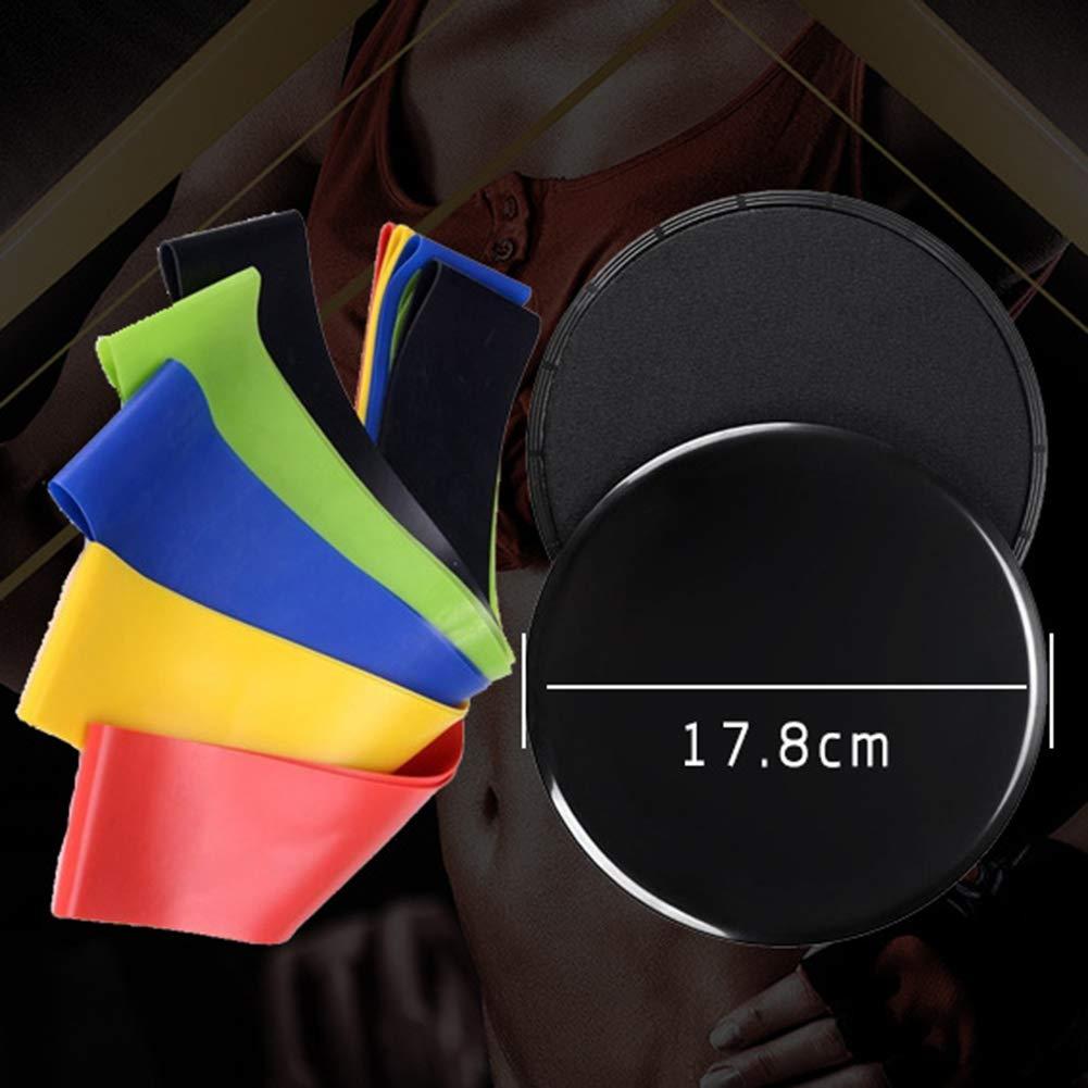 ZDLF 2Pcs Discos de Deslizamiento de Fitness Control Deslizante de Gimnasio con Bandas de Resistencia de 5 Niveles Fitness Booty Pierna Entrenamiento Entrenamiento Bucles de Goma