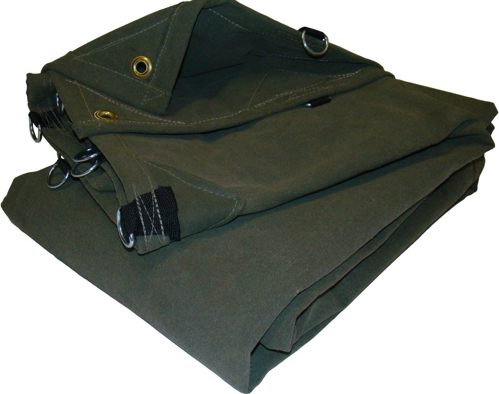4' x 4' Canvas Tarp 12oz/18oz Olive Drab with D-Rings by Gold Line