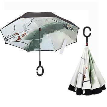 KANGLE Paraguas Invertido, Paraguas A Prueba De Viento, Paraguas Invertido, Sombrillas para Mujeres