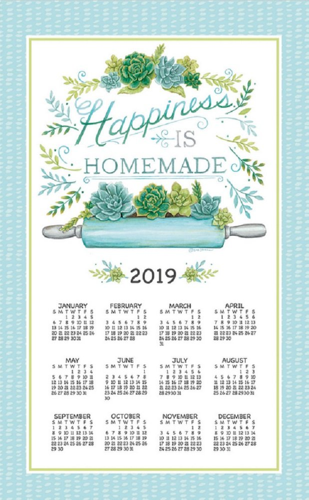 2019 Calendar Towel & Dowel - Happiness is Homemade, Rolling Pin, Succulents - Kay Dee