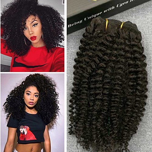 : Ugeat 100% Virgin Raw Unprocessed Human Hair Afro Kinky Curly/Straight Clip in Human Hair Extensions for Black Women Natural Color 7pcs 100g Full Head Hair Set