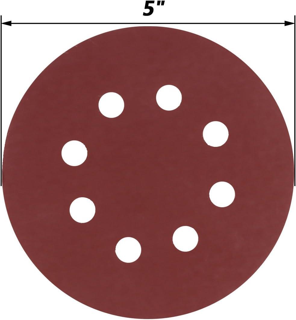 iixpin 30Pcs Sanding Discs Sandpaper Assorted 800//1000//1200//1500//2000 Grits Hook 125mm 5 Inch 8 Holes Loop Aluminum Oxide Sandpaper Orbital Sander Reddish Brown One Size