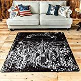 TideTex Fashion Simple Black White Rectangle Living Room Carpet Bedroom Rug Creative New York Manhattan City Pattern Design Area Rug Bedside Rugs Cozy Washable Non-slip Door Mat (2'6x2'6, Square)