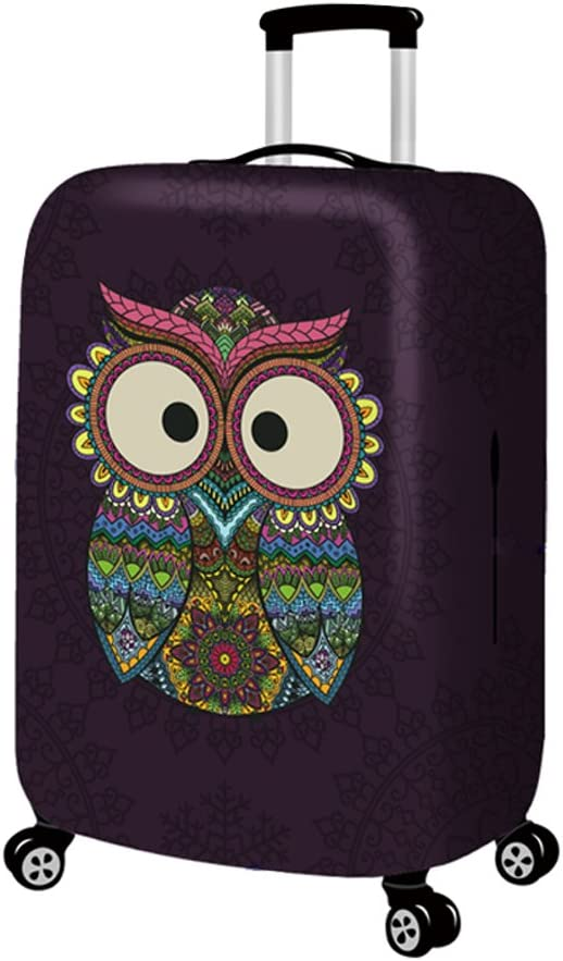 3D Animal Baby Owl Print Luggage Protector Travel Luggage Cover Trolley Case Protective Cover Fits 18-32 Inch
