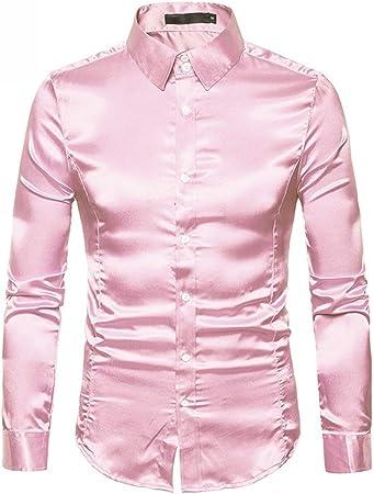 Camisas para Hombre Regular Fit, Hombres Moda Casual Brillante Colorido Manga Larga Cierre de botón de Solapa Camisa de Corte clásico Actividades de Fiesta Camisa Slim-fit de Gran Tama: Amazon.es: Hogar