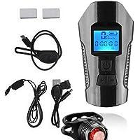 Tomshin Farol de ciclo de luz frontal de bicicleta recarregável USB com odômetro de velocímetro de LED para bicicleta