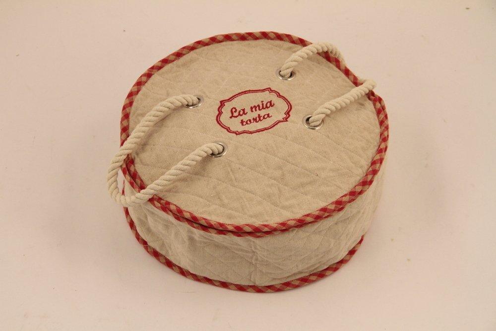Porta Torta Tondo in Tessuto Rosso e Beige Ø36xh13, 5cm Disraeli Disraeli srl