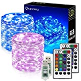 Onforu 2 Pack 33ft RGB Fairy Lights, 16 Colors Changing Outdoor String Lights, 100 LED Starry Lights with Remote & Timer, USB Powered IP65 Waterproof Copper Wire Lights for Parties, Christmas, Decor