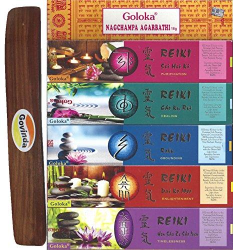 Set of 6 - Nag Champa, Timelessness, Enlightment, Grounding, Healing, and Purification with Govinda Incense Holder - by Goloka Reiki Series and Govinda (Purification Incense)